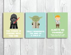 Oh my gosh... I wish these (& etsy) would have existed when Madi was a baby.  Quick - one of my friends, have a baby!!!! Set of 3 Star Wars Nursery Art Printables // by SomebodyLovedShop, $5.00