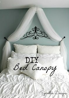 #DIY Bed #Canopy using an embroidery hoop and sheer curtains hung from the ceiling. #bedroom