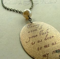 Jane Eyre by Charlotte Bronte Brooding Literary Brass Pendant
