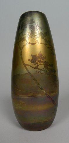Weller 'La Sa' Scenic Pottery vase, panoramic scene.  7 1/2''h