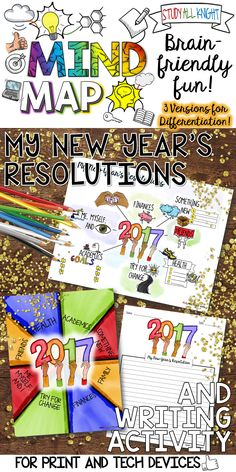 Promoting goal setting in your classroom? Making new year's resolutions is a common practice for many people around the world. This activity will inspire your students to set goals for 2017 and get creative! Celebrate the new year with a mind map. This activity is a personal reflection on goal setting and self-discovery. The writing activity is easy and no-prep! ($)