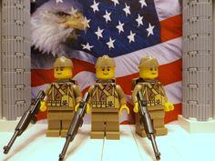 3x LEGO WWII U.S. 29th Inf. Div. 1942 w/ M1 Carbines, Garrison caps & Backpacks