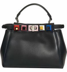Main Image - Fendi Mini Peekaboo Studded Leather Bag