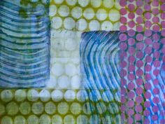 Frieda Oxenham: Gelli Plate Printing: I've printed these sheets, all around the A4 size, this morning and have now left them to dry. I might add more to each of them but it's always a good idea to let them dry and come back to them in a few days time with a fresh eye to see if they need any further work. In the meantime I've photographed my favourite bits so that I can reprint them at this exact stage.