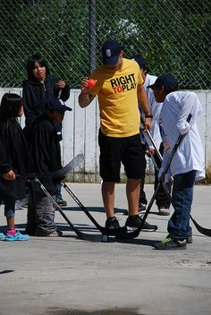 Chicago Blackhawks defenseman and Athlete Ambassador Steve Montador visited Wapekeka First Nation with the NHLPA & Right To Play in 2011