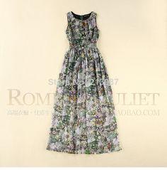 2014 Summer fashion women's elegant O-neck sleeveless floral print slim women maxi dresses slim plus size women long dress S-XL