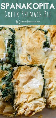 This is my family's favorite Spanakopita recipe! With it's perfectly crispy layers of phyllo dough and comforting filling of spinach and feta, it will become a fast fav in your house too! Greek Spinach Pie, Spinach And Feta, Spanakopita Recipe, Crescent Recipes, Phyllo Dough, Mediterranean Dishes, Cooking Recipes, Healthy Recipes, Salmon Recipes