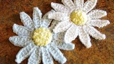 Crocheted Flower Applique In Blue And Green Wool Yarn Pictures to ...