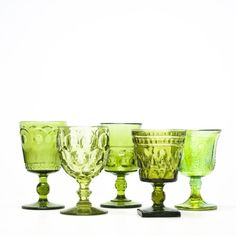 Mid-Century Modern Green Glassware | Mismatched Tabletop Goblets | Jewel Toned Glassware | Birch & Brass Vintage Rentals | Weddings and Special Events | Austin, Texas