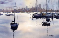 Watercolor Paintings Boats and the Sea Gallery: Seascapes