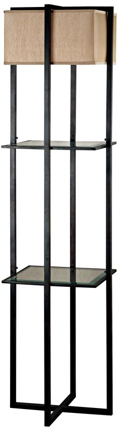 Planar Glass Shelf Display Case Floor Lamp -