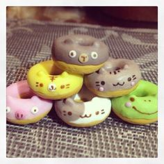 Super cute (kawaii) animals donuts necklace, polymer clay, charm 1 pc (to chose). 1 inch diameter.. via Etsy.