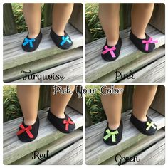 """18"""" Girl Doll Shoes, 18"""" Black Doll Shoes, Pick your color, Turquoise Red Green Pink Shoes, Ready to Ship shoes, Handmade 18"""" Doll Shoes - pinned by pin4etsy.com"""