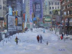 Original oil painting New York Snow Cityscape by Kay crain, painting by artist Kay Crain