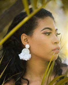 White Beaded Flower Tassel Earrings - Lux Store DR