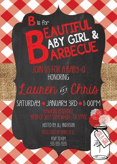 Any Color CHALKBOARD BURLAP BABY Q Couples Red Gingham Country Graduation Bbq Barbecue Surprise Birthday Bridal Shower Rehearsal Invitation baby girl and bbq