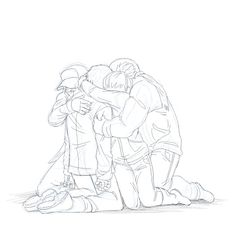 #SnufkinWasHere, snuffysbox.tumblr.com, group hug, group pose, kneeling, four person pose