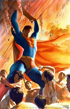 Superman by Alex Ross. Why does this make my heart swell? Mundo Superman, Superman Man Of Steel, Batman And Superman, Superman Stuff, Superman Family, Alex Ross, Dc Comics Art, Dc Comics Characters, Dc Heroes