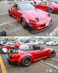 No photo description available. Miata Mods, Mazda Roadster, Classic Japanese Cars, Honda Bikes, Tuner Cars, Mazda Miata, Weird Cars, Go Kart, Hot Cars