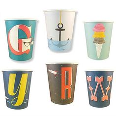 Hey Yo Yo Store: A-Z paper cups cover the alphabet in vintage style.  This might be the best party supply store. ever.