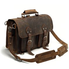 Vintage Crazy Horse Leather Travel Bag / Briefcase - (backpack / messenger)