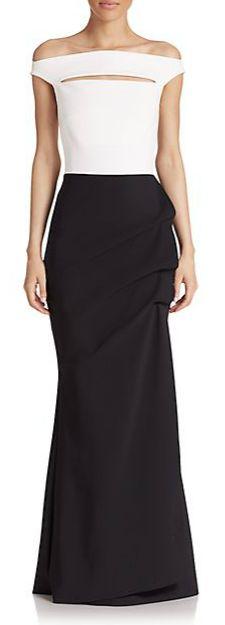 La Petite Robe di Chiara Boni Cap Sleeve Colorblock Gown