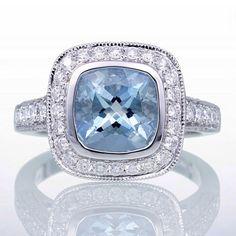 Cushion Cut Aquamarine Diamond Halo Pave Filigree Bezel Set Engagement Solitaire Wedding Ring