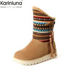 KARINLUNA 2017 Large Size 33-43 Ethnic Style Flat Heel Woman Shoes Women  Add Warm f5b601267c8