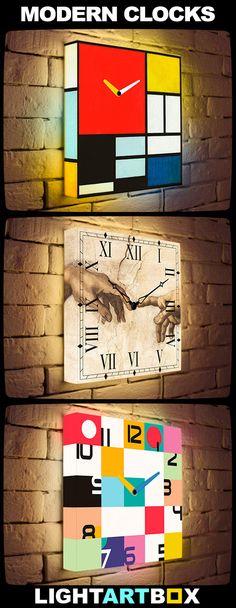 Modern Art Clock - home decor trend 2016! Custom Light Clocks ● LightArtBox.com