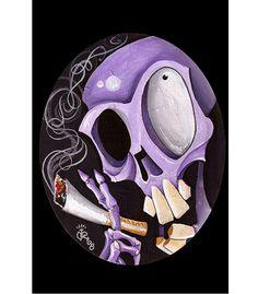 Smoking Skull Art Print by Artist Kirsten Pedroza