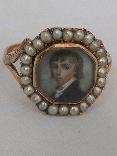 Georgian portrait miniature seed Pearl gold ring | eBay