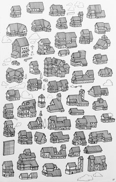 24 Ideas For Fantasy House Drawing Minecraft Medieval House, Medieval Houses, Building Drawing, Building Sketch, Building Concept, Minecraft Blueprints, Minecraft Designs, House Blueprints, Fantasy City