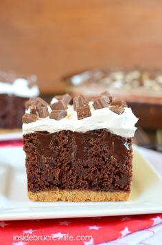 Chocolate S'mores Pudding Cake - chocolate pudding and a fluffy marshmallow topping turn this cake into a summer time delight
