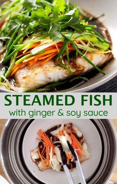 Steamed Fish with Ginger, Scallion and Soy Sauce is a restaurant-quality dish you can easily cook at home in just 30 minutes. Serve this light yet flavorful dish with rice for a healthy and delicious meal. Tilapia Recipes, Salmon Recipes, Seafood Recipes, Vegetarian Recipes, Cooking Recipes, Healthy Recipes, Steamed Fish Recipes Healthy, Steamed Food, Fish Dishes
