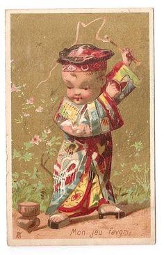 Mon jeu favori -  Chinois  Toupie  - Vallet Minot - Chromo Dodat - Trade card