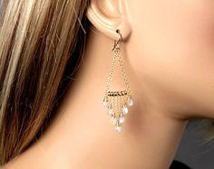 Moonstone Chandelier Earrings Rainbow Moonstone by AdmirableJewels