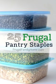 Stock your frugal pantry with this list of 25 must have staples to save money. Plus tips on how to use them in your everyday cooking.