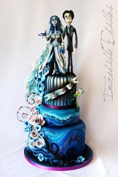 Corpse Bride Wedding Cake by Vicki's Incredible Edibles - http://cakesdecor.com/cakes/215954-corpse-bride-wedding-cake