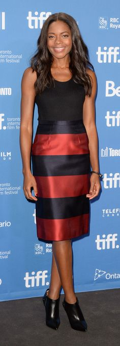 British actress Naomie Harris wearing Burberry to the Mandela: Long Walk to Freedom press conference at the Toronto International Film Festival 2013
