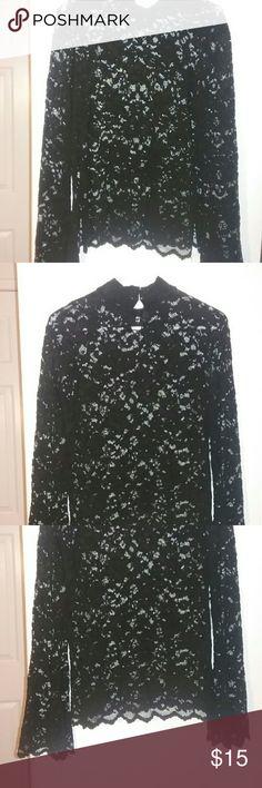 Black lace shirt Long flared sleeve cami Tops Tees - Long Sleeve
