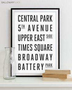 New York Subway Sign Art Subway Print Bus Roll City Poster - Modern Home Decor