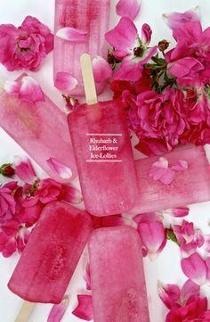 Beautiful bright pink Rhubarb & Elderflower Ice lolly Popsicles