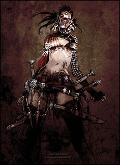 an almost mideval look works well too. just add litle bits and pieces to keep it post-apocalyptic. bullit casings and military surplus gear will come in handy here Fantasy Warrior, Fantasy Art, Character Inspiration, Character Design, Character Ideas, Tribal Warrior, Warrior Women, Post Apocalyptic Fashion, Post Apocalypse