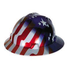 msa vgard full brim hard hat american stars and stripes these helmets