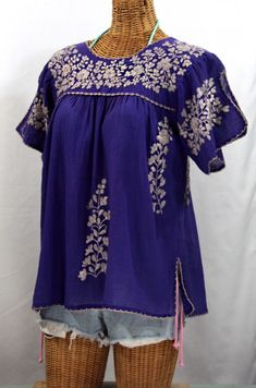 "Siren's ""La Lijera"" Embroidered Peasant Blouse Mexican Style in Purple with Grey Embroidery :) #sirenbrand #mexicandress #mexicanblouse #bohemian #hippie #peasant #summerfashion #sirensurf"