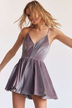 Shop Kimchi Blue Vanessa Velvet Fit + Flare Romper at Urban Outfitters today. Cute Formal Dresses, Hoco Dresses, Casual Dresses, Rockabilly, Rock And Roll, Indie, Holiday Party Outfit, Girl Fashion, Fashion Outfits