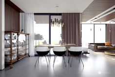 Stylish Family Residence in Bratislava historic cabinet modern dining area