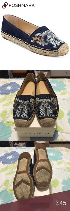 Ivanka Trump Violette Embellished Espadrille Flats Add vintage appeal to your daytime look with the bohemian stylings of Ivanka Trump's Violette espadrilles featuring colorful embroidery details. Leather upper. Manmade soles. Embroidered cutouts in pastel hues compliments the jute trim of an elegant slip on flat shaped in smooth leather. In excellent condition. Used twice. Comes with box. ❌No trades❌💟Reasonable Offers welcome💟 Ivanka Trump Shoes Espadrilles