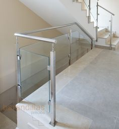 Glass railing in shape of square and handrail