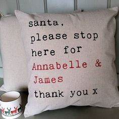 personalised 'santa please stop here' cushion by tillyanna | notonthehighstreet.com